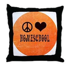 Peace Love Homeschool Orange Throw Pillow