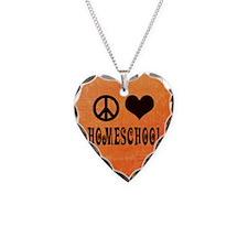 Peace Love Homeschool Orange Necklace