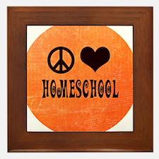Peace Love Homeschool Orange Framed Tile