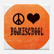 Peace Love Homeschool Orange Tile Coaster