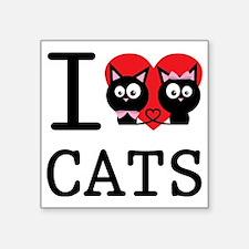 """I LOVE CATS1 Square Sticker 3"""" x 3"""""""