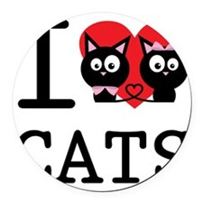 I LOVE CATS1 Round Car Magnet
