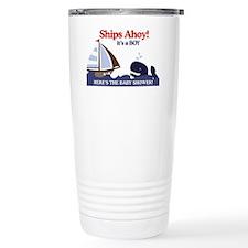 Ships Ahoy Nautical Baby Shower Travel Mug