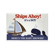 Ships Ahoy Nautical Baby Shower Y Rectangle Magnet