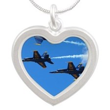 Blue Angels Silver Heart Necklace