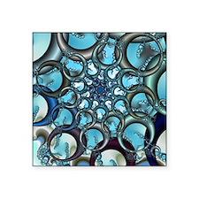 """Bubble Fractal Square Sticker 3"""" x 3"""""""