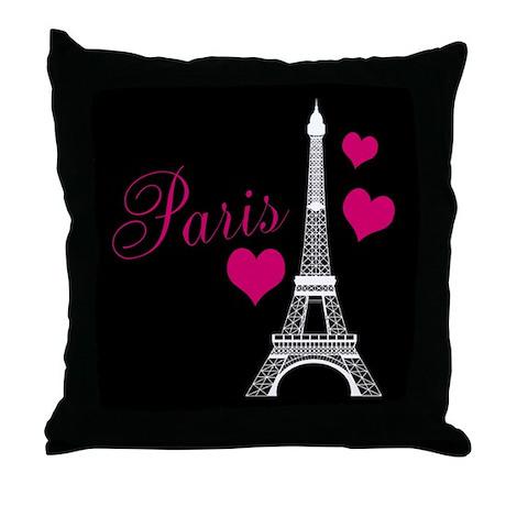 Paris Eiffel Tower in Black Throw Pillow