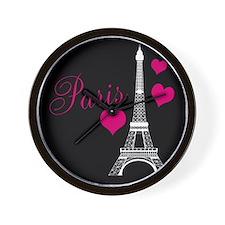 Paris Eiffel Tower in Black Wall Clock