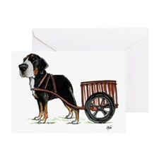 betty-on-cart-cuout Greeting Card