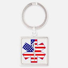 Flag Star Square Keychain
