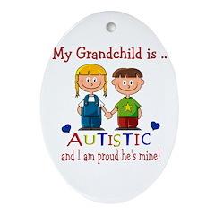 Proud Grandparent ( of a boy) Oval Ornament