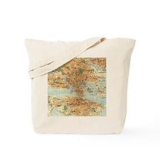 Vintage Map of Stockholm Sweden Flip Flop Tote Bag