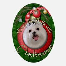 DeckHallsMalteses Oval Ornament