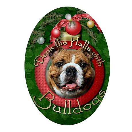 DeckHallsBulldogsDk Oval Ornament