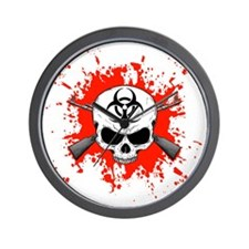Zombie Hunter 1 white Wall Clock