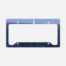 sail boat out in the middle o License Plate Holder