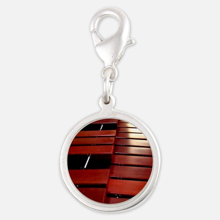 Marimba Silver Round Charm