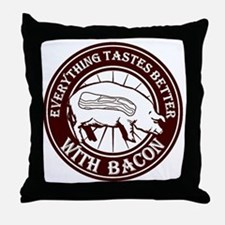 Pig Black Leg Black Burst- Brown Throw Pillow
