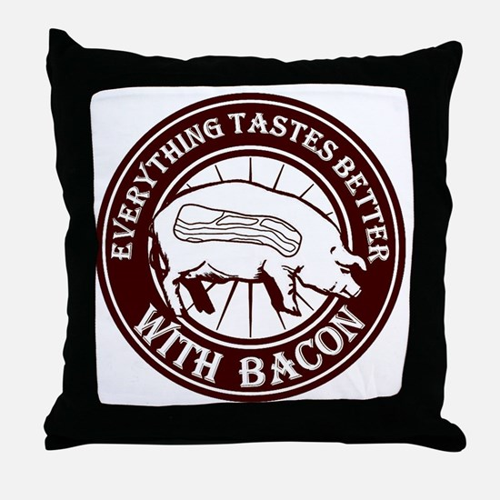 Pig Black Leg Black Burst- Brown Throw Pillow