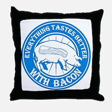 Pig Black Leg Black Burst- Lt Blue Throw Pillow