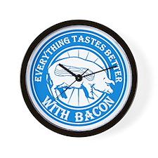 Pig Black Leg Black Burst- Lt Blue Wall Clock