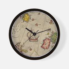 Vintage Europe Sea Map Flip Flops Wall Clock