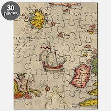 Vintage Europe Sea Map Flip Flops Puzzle