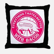 Pig Black Leg Black Burst- Pink Throw Pillow