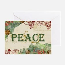 Christmas Peace Collage Pine Wreath  Greeting Card