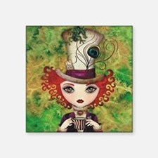 "Lady Hatter Square Sticker 3"" x 3"""