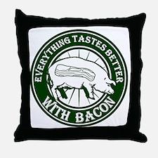 Pig Black Leg Black Burst- Green Throw Pillow