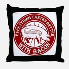 Pig Black Leg Black Burst- Dark Red Throw Pillow