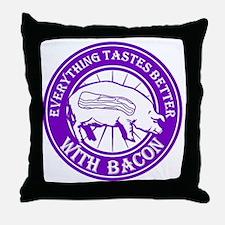 Pig Black Leg Black Burst- Purple Throw Pillow