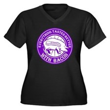 Pig Black Le Women's Plus Size Dark V-Neck T-Shirt