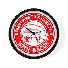 Pig Black Leg Black Burst- Red Wall Clock