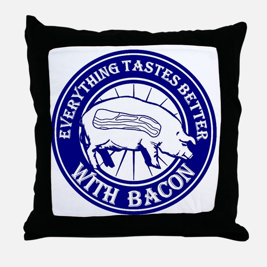 Pig Black Leg Black Burst- Blue Throw Pillow