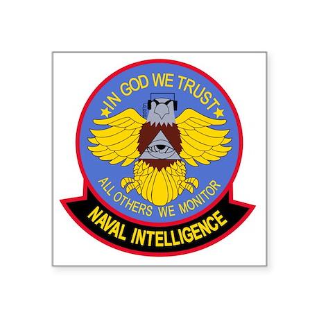 "US NAVAL INTELLIGENCE Milit Square Sticker 3"" x 3"""