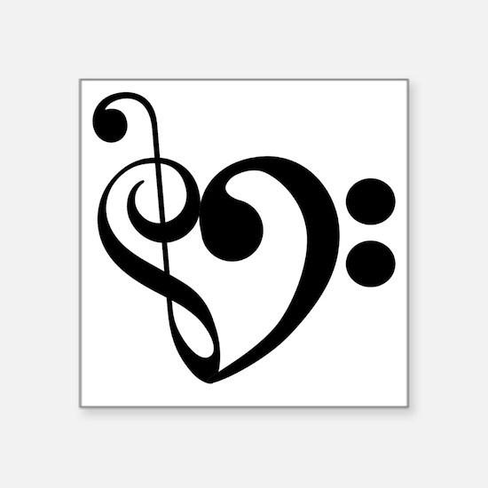 "Musical-Heart Square Sticker 3"" x 3"""