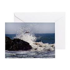 Sea Gull flying a mist crashing wave Greeting Card