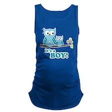 Its A Boy Hoot Owl Blue Maternity Tank Top