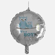 Its A Boy Hoot Owl Blue Balloon