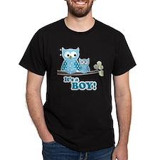 Its A Boy Hoot Owl Blue T-Shirt
