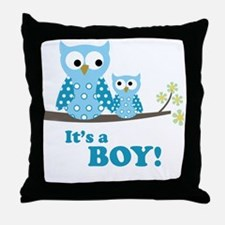 Its A Boy Hoot Owl Blue Throw Pillow