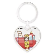 firefighter girl this is how I roll Heart Keychain
