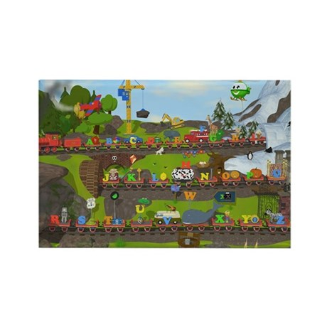 Alphabet Train Poster, Two Object Rectangle Magnet