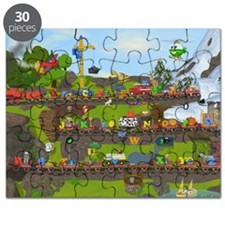 Alphabet Train Poster, Two Objects Per Lett Puzzle