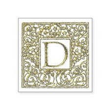 "Monogram D Square Sticker 3"" x 3"""