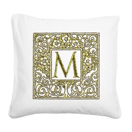 Monogram M Square Canvas Pillow