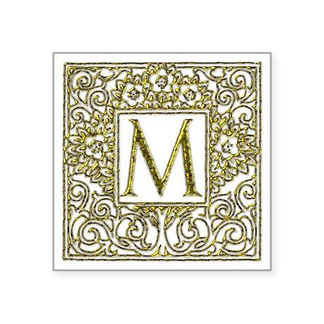 """Monogram M Square Sticker 3"""" x 3"""""""