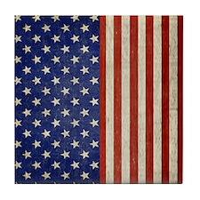 flip_flops_antique_american_flag Tile Coaster